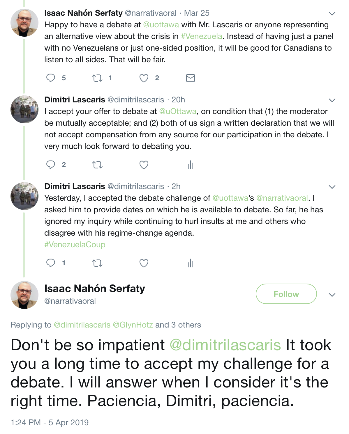 Initial Tweets re Debate with Ottawa Professor