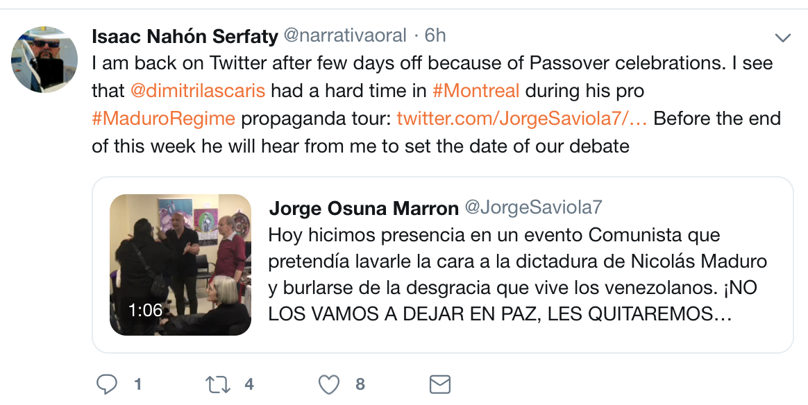 Nahon-Serfaty back on Twitter April 23 2019