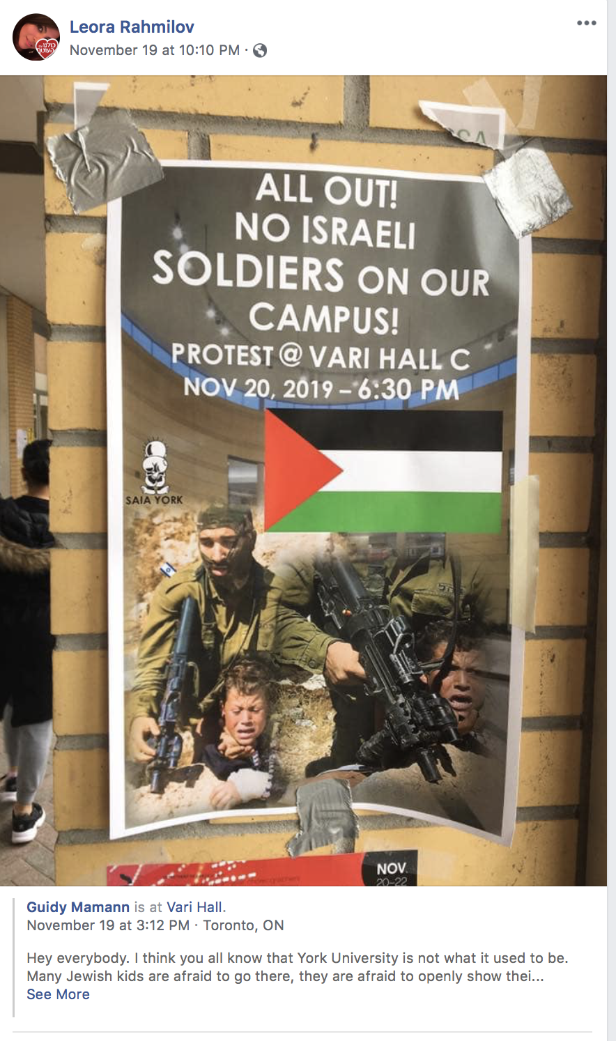 David posting poster about York U protest.png