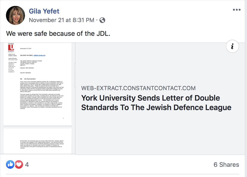 Yefet post praising JDL